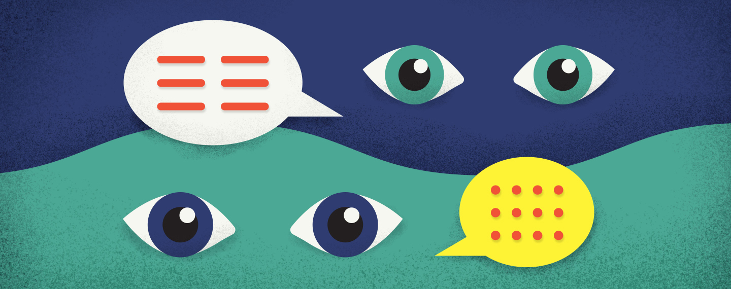 Illustration of talk bubbles and eyes